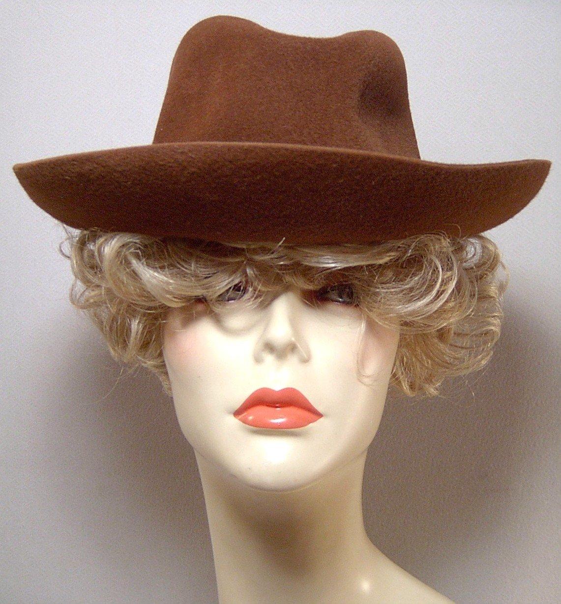 "Borsalino felt fedora hat 7 Brown fur felt 22"" SEXY"