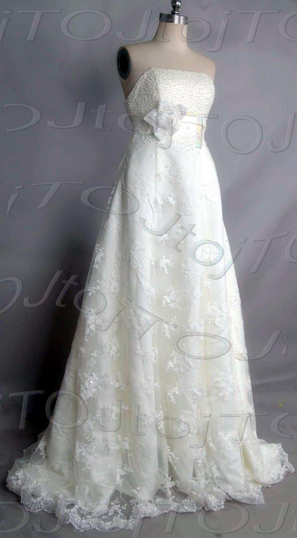 Strapless empire wedding gown-DWG0894