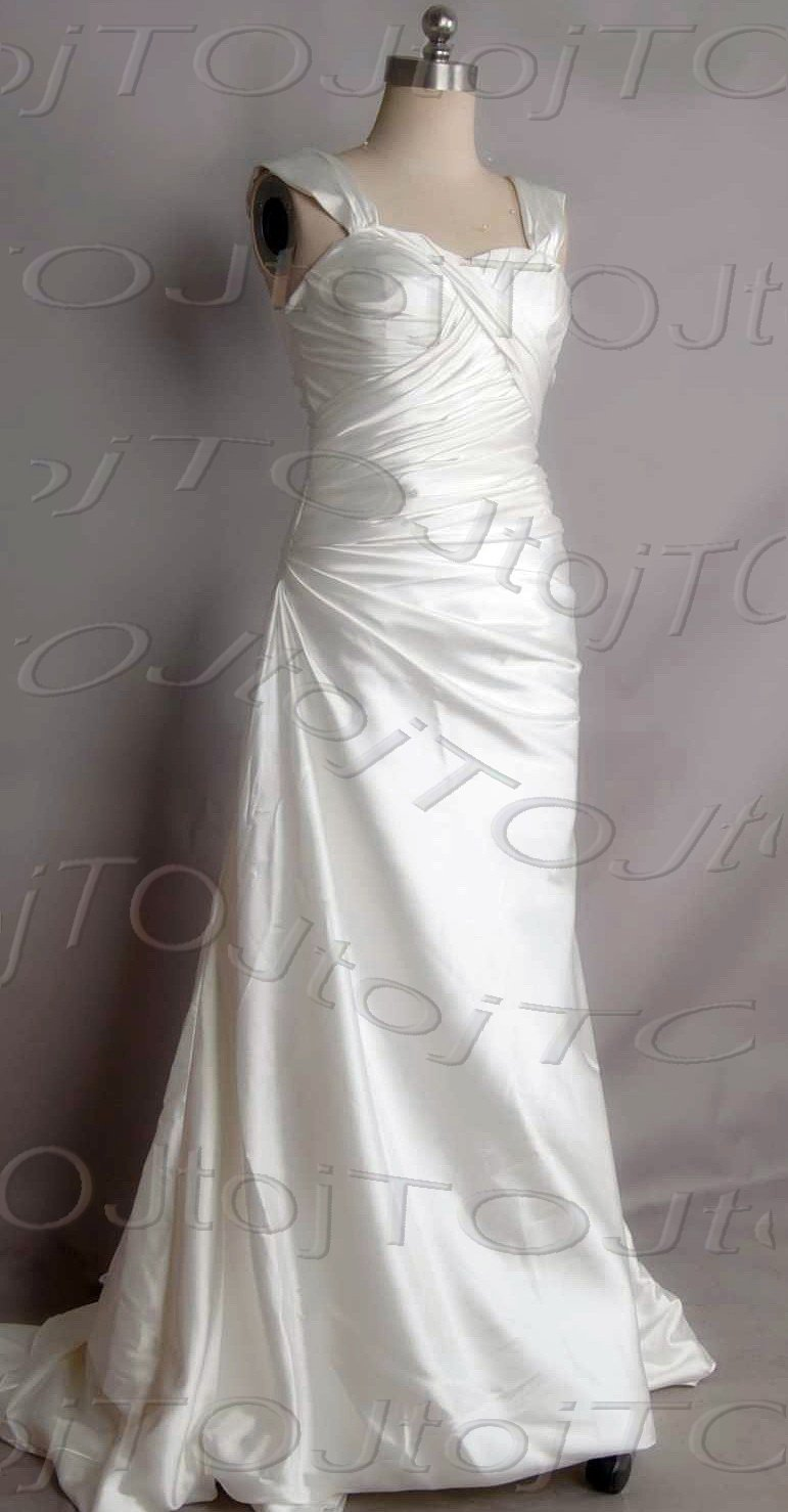 Cap sleeves sweet heart A-line wedding gown-DWG0898