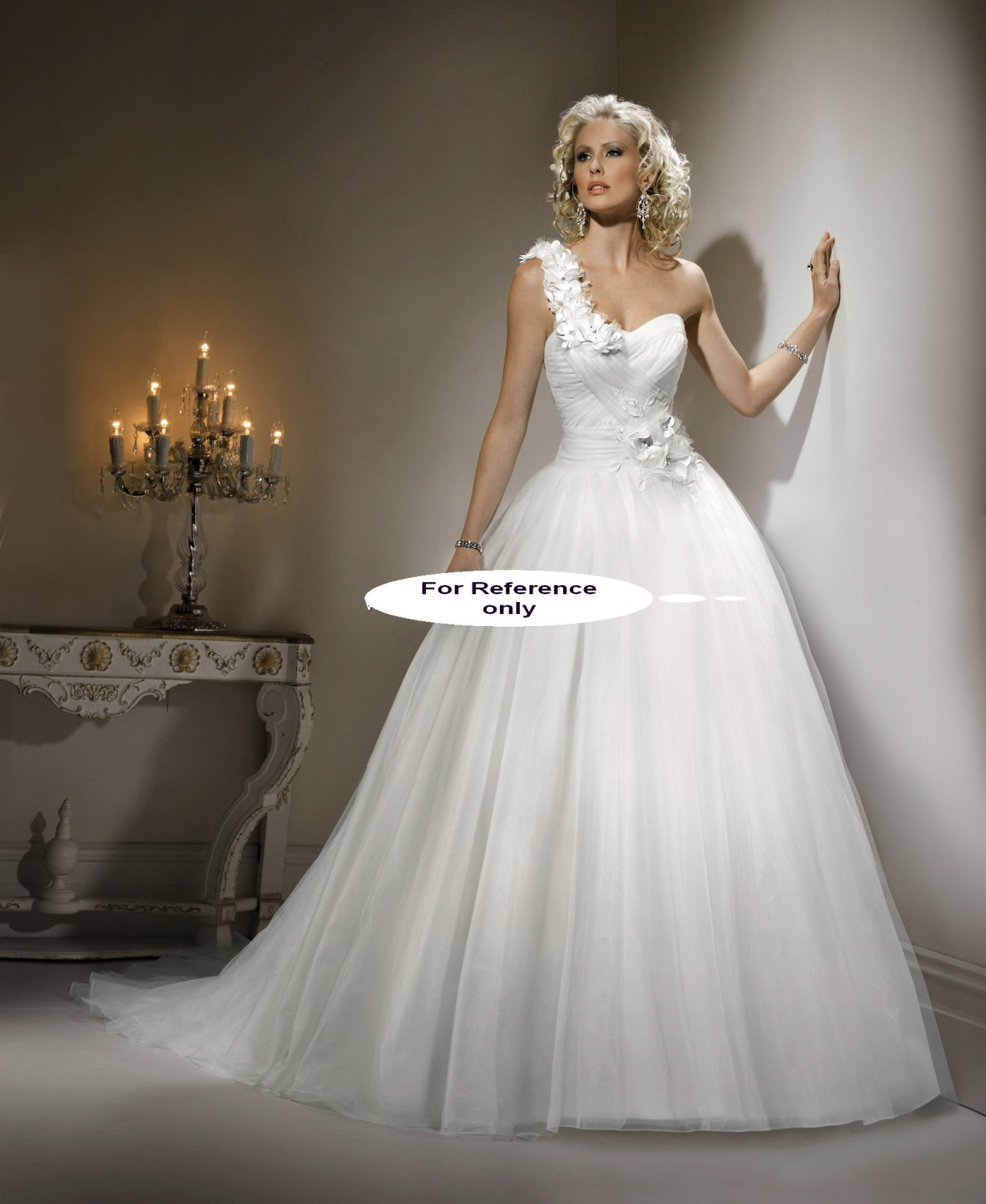 Sweet heart one shoulder ball gown-1424