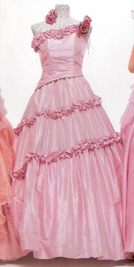 One shoulder ball evening dress-W847