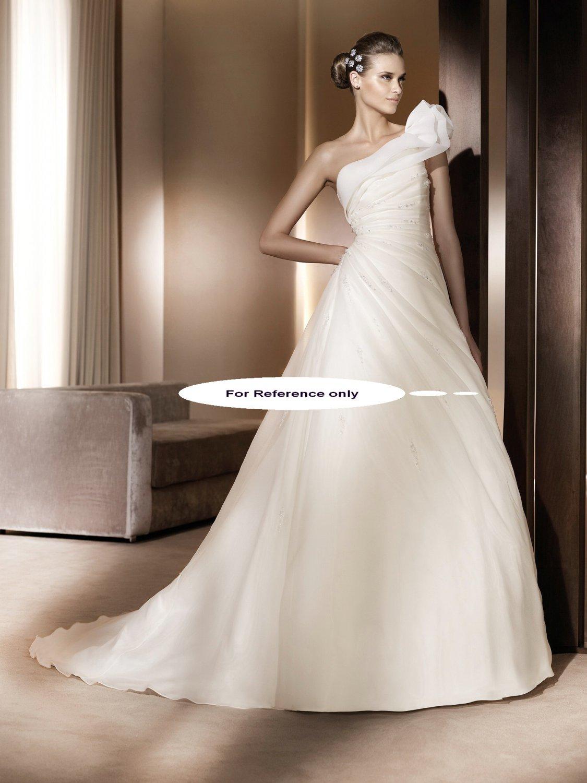 One shoulder A-line wedding gown-Alcazar
