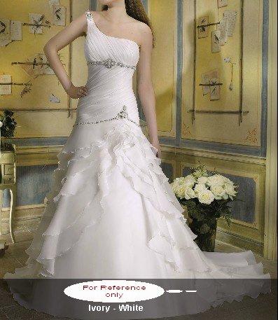 One shoulder mermaid wedding gown-WG814