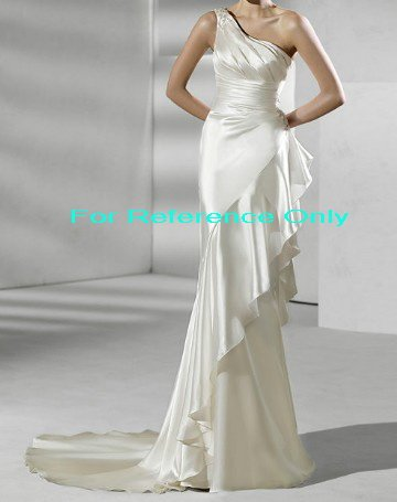 One shoulder mermaid wedding gown-WG818