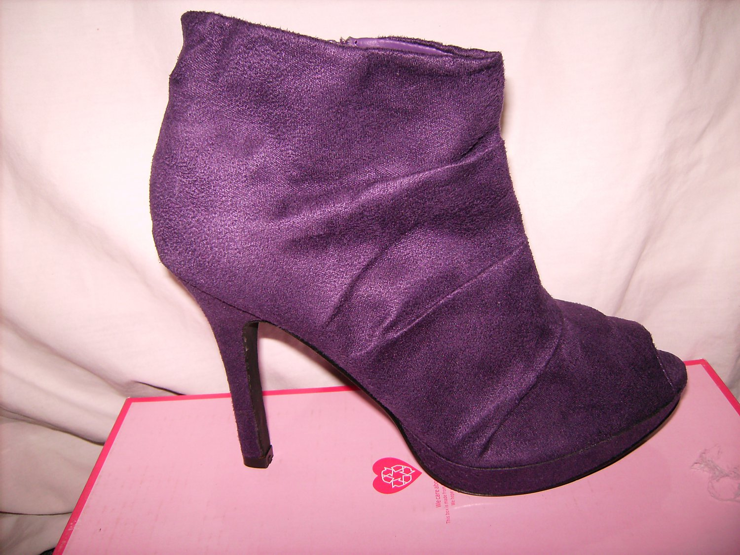 Purple faux suede peep toe ankle boots