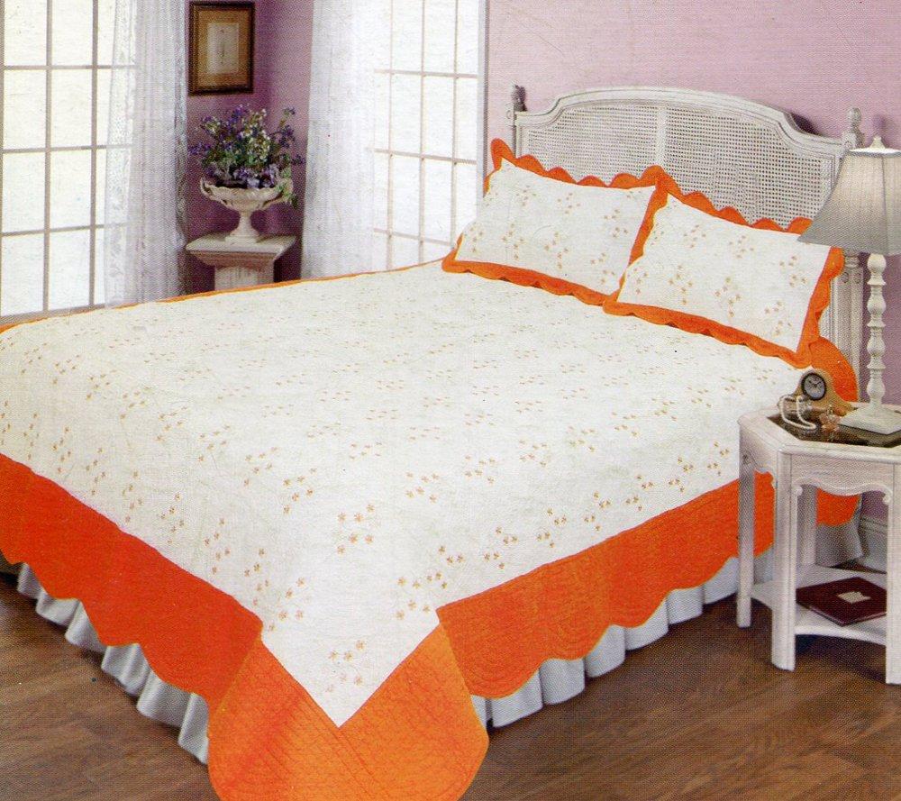 4pcs white and orange color bedding set AY-1108