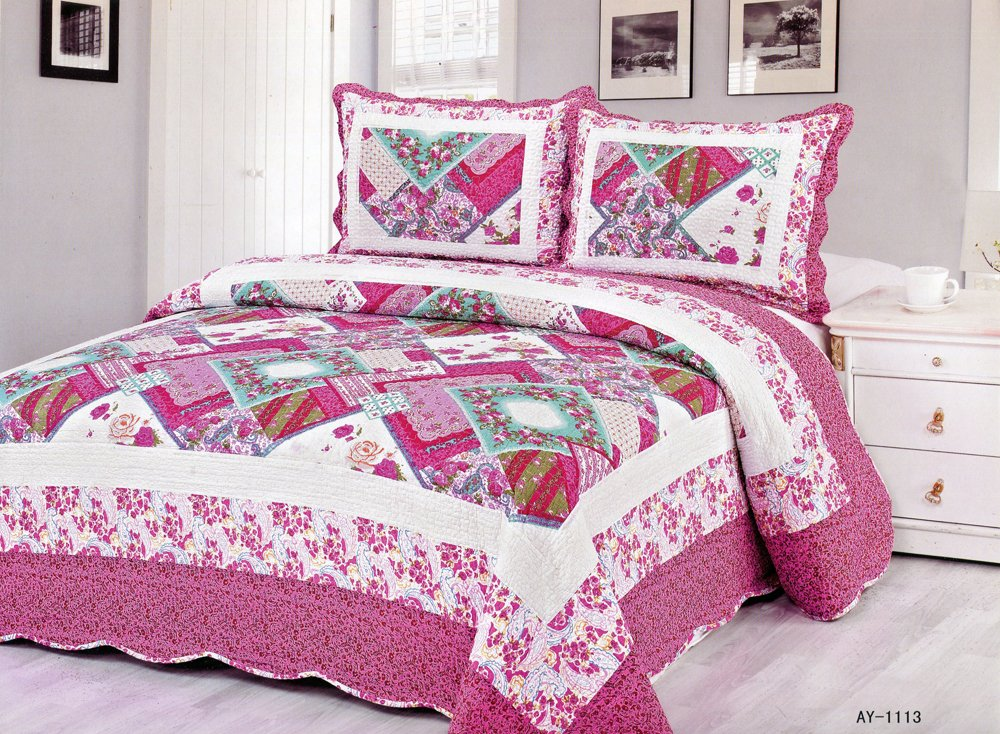 4pcs purple tone multi color bedding set AY-1113
