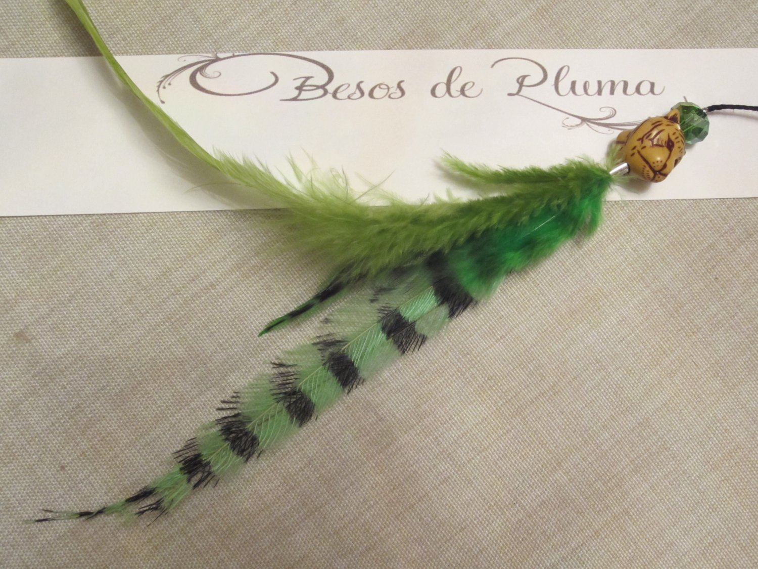 Removable Clip-In 2-Feather Hair Extension Grizzly Green Rooster & Emu Feathers wood glass beads NEW