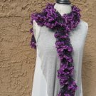 ❤ handmade Dark Purple Acrylic Polyester Ruffle Yarn Bright Violet Velvet Fur Trim SCARF COWL ❤
