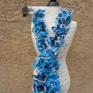 Carolina Panthers NFL Detroit Lion Team Pride BRIGHT BLUE black WHITE silver Yarn Ruffled Scarf