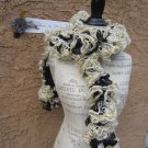 Black GOLD White RUFFLED YARN SCARF New Orleans Saints Team Spirit angora/acrylic/polyester blend