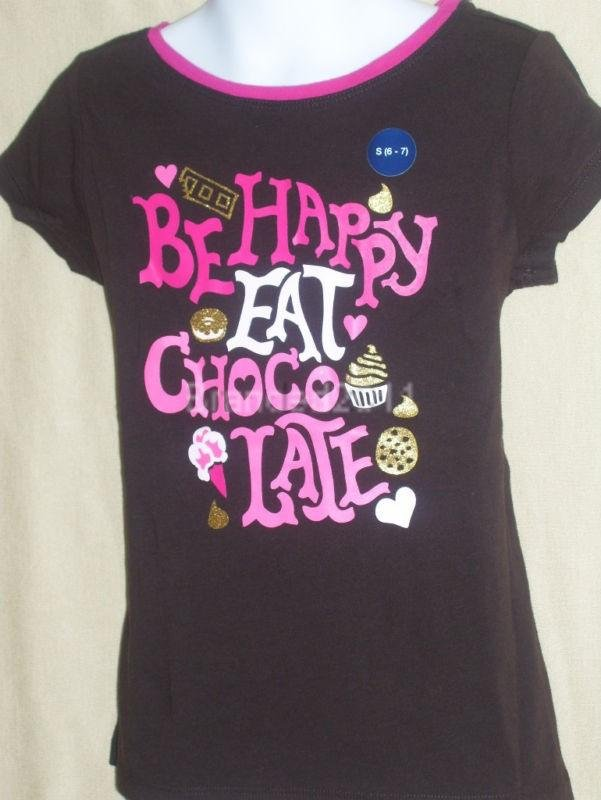2 girls 'GAP KIDS' tops 6-7yrs ~eat chocolate~ from USA