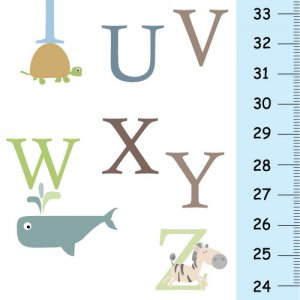 Canvas Growth Chart - Baby Nursery Decor - Animals Alphabet