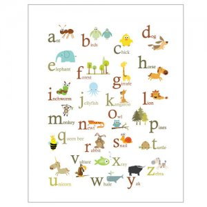 Animal ABC Poster print -11 X 14- baby room wall decor