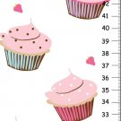 Personalized Canvas Girls Height Chart - Pink Cupcakes- wall hanging