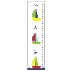 Personalized Children Canvas Growth Charts- Nautical Sailboats and Anchors