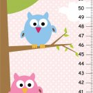 Girls Canvas Growth Charts- 2 Owls on tree