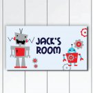 Personalized Kids Robots Door Sign Plaque, Nursery Wall Hanging