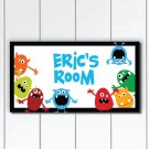 Personalized Kids Door Sign Plaque, Colorful Monsters, Nursery Wall Decor
