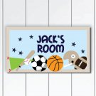 Personalized Kids Door Sign Plaque, Sport Nursery Wall Decor for Boys