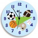 All Sport Wall Clock for Boys Bedroom, Nursery Wall Hanging