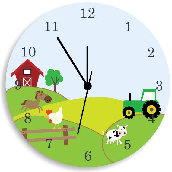 Farm Animal And Tractor Wooden Wall Clock For Kids Bedroom