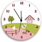 Farm Animal Wooden WALL CLOCK for Girls Bedroom