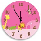 Pink Jungle Animal Safari Wooden WALL CLOCK for Girls Bedroom, Nursery Wall Decor