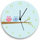 Blue Owls Girls WALL CLOCK