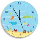 Ocean Sea life WALL CLOCK, Nursery Wall Decor, Boy Bedroom Wall Hanging