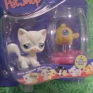 Littlest Pet Shop White KITTY Cat GOLD FISH & Bowl NIP