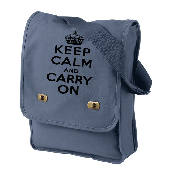 Keep Calm and Carry On - Canvas Messenger Bag Denim Blue Field Bag
