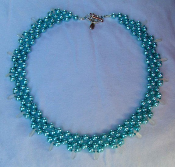 pearl and silver handmade necklace