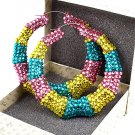 Multi Color  Crystal Bamboo Earring
