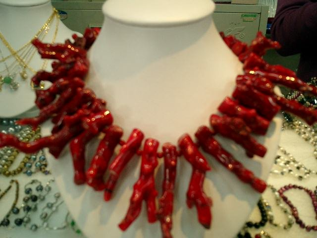 "17"""" large red branch coral necklace"
