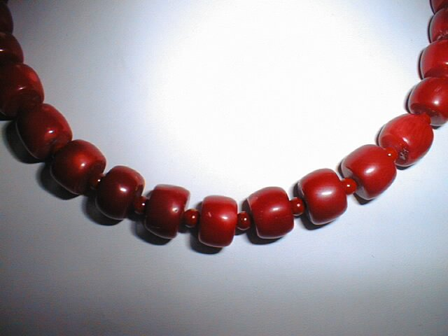 "18"""" red coral barrel shape &beads necklace"