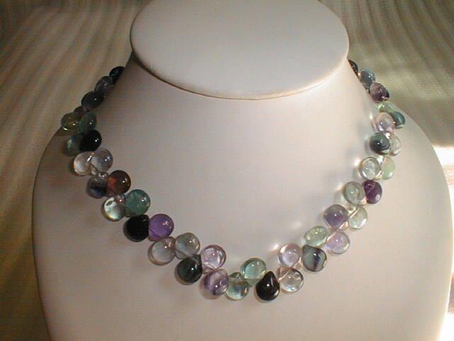 beatiful flourite water drop shape necklace