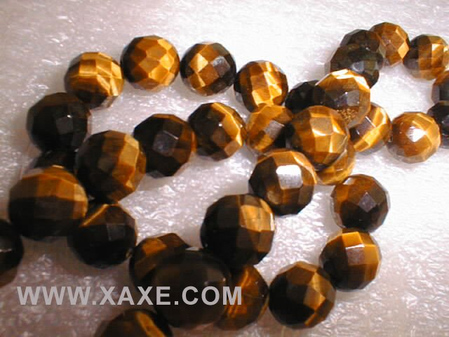 "18"""" length--10mm tiger eye stone beads/necklace,64 shape"