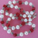 "exquisite 17"""" red coral/white pearl necklace"