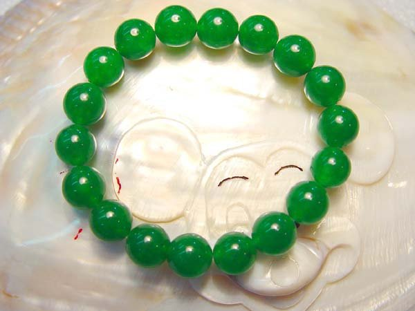 "7"""" 10mm green jade bracelet"