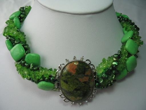 """charming 18-20"""""""" 5 strands green pearl turquoise necklace"""