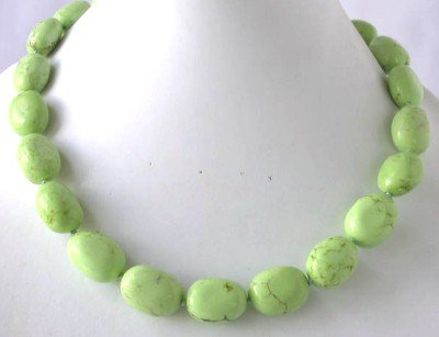"18"""" beauty color green turquoise beads necklace"