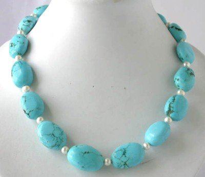 "18"""" big blue turquoise beads white pearl necklace"