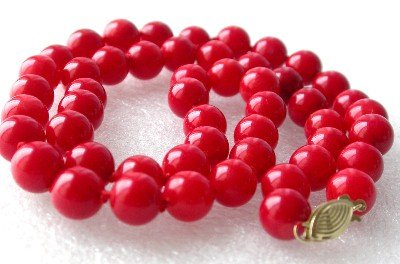 "14K 17"""" 8mm red round coral beads necklace"