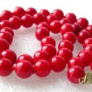 """14K 17"""""""" 8mm red round coral beads necklace"""