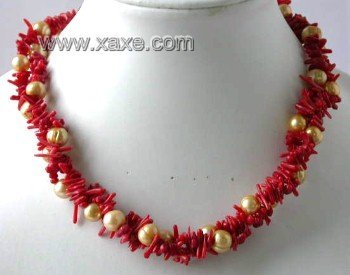 "17"""" 3-row red branch coral pearl necklace"