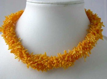 "17"""" 4-row orange branch coral necklace"