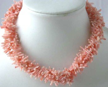"17"""" 4-row pink branch coral necklace"
