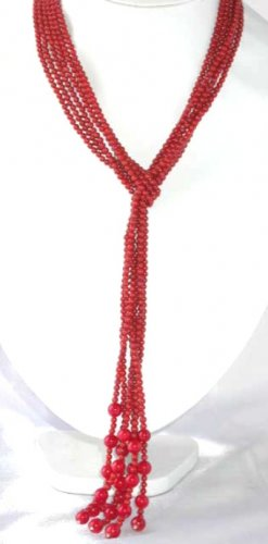 "47"""" 3-strands red round coral beads necklace"