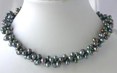 """16"""""""" 2-rows 5*7mm peacock FW pearl necklace"""